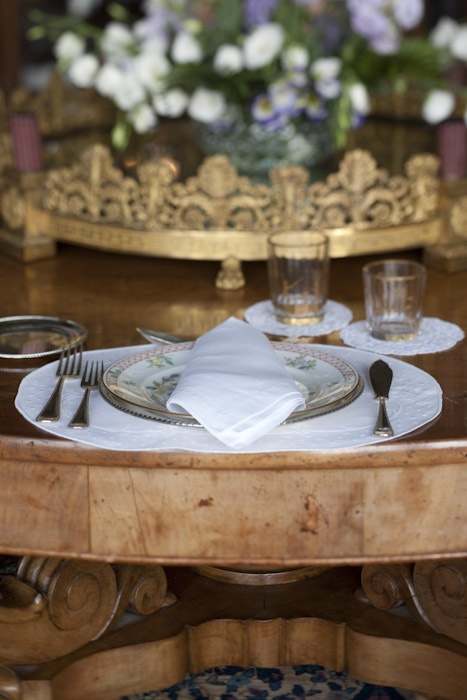 Detail of set table for dinner at Francesca Bortolotto's home in Venice