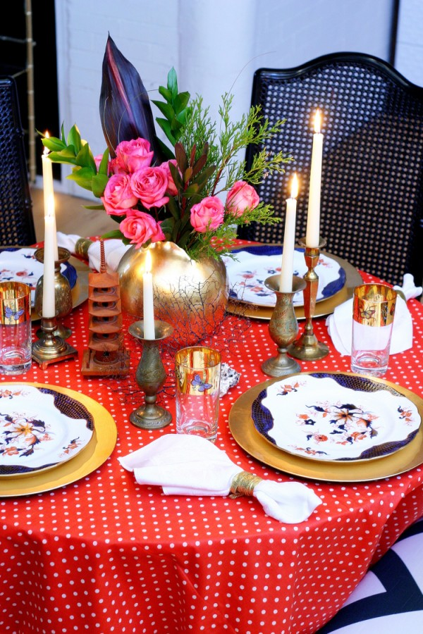 table setting wide shot