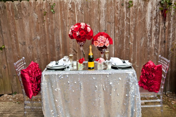 holiday valentine valentines day table for two dinner romantic sexy romance red pink silver glitter purple champagne table setting centerpiece husband boyfriend girlfriend party theme inspiration micko photo 6